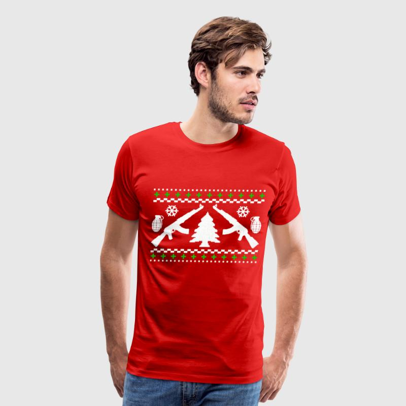 Funny AK47 Ugly Holiday Sweater - Men's Premium T-Shirt