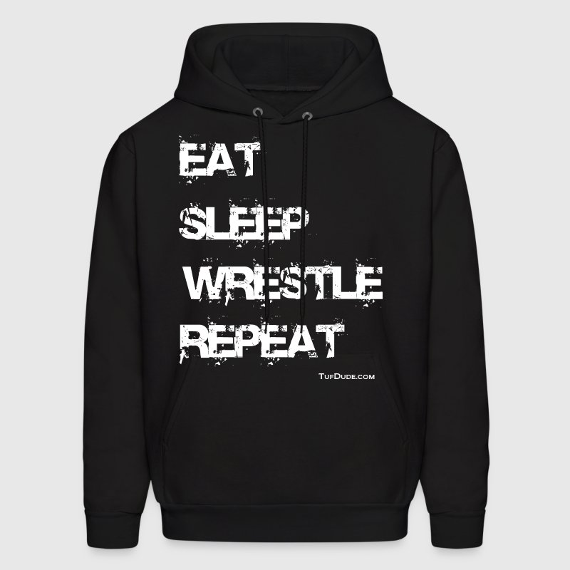 Men's Eat Sleep Wrestle Repeat Hoodie (Back Print) - Men's Hoodie