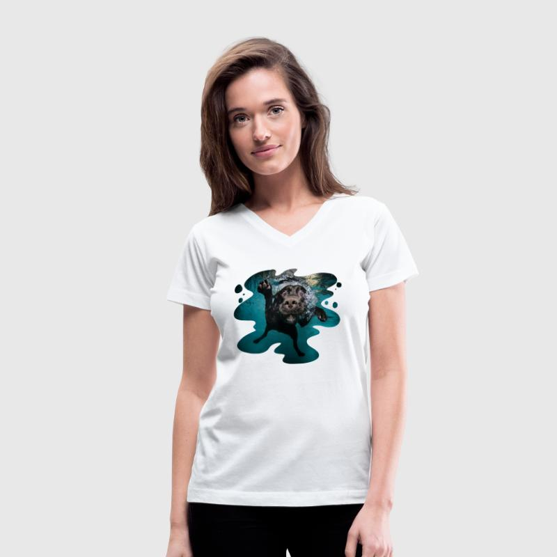 Underwater Dogs Duch by Seth Casteel Women's T-Shirts - Women's V-Neck T-Shirt