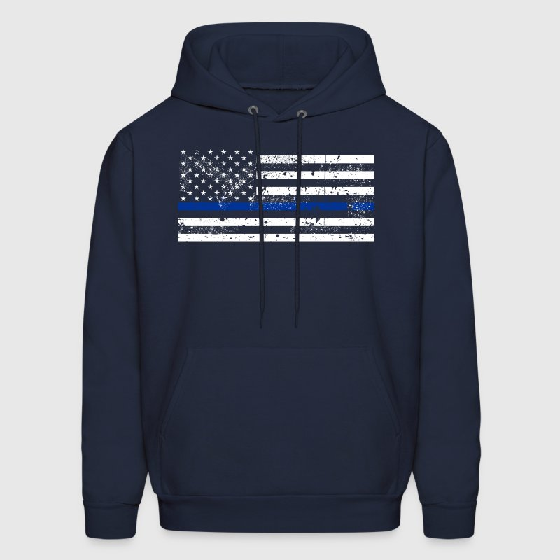 tattered distressed thin blue line flag vintage - Men's Hoodie