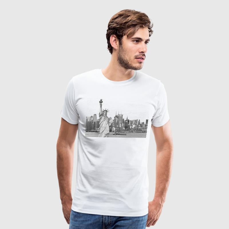 Statue of Liberty New York City Skyline - Men's Premium T-Shirt