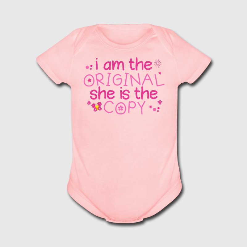 Cute Twin Girl Saying - Short Sleeve Baby Bodysuit