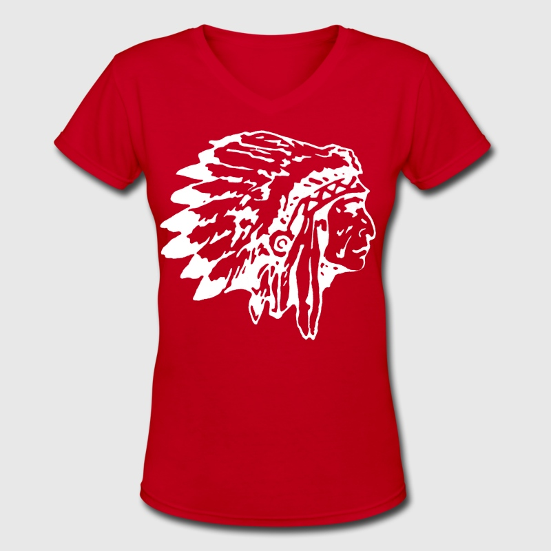 Native American Indian Chief Shirt with headdress - Women's V-Neck T-Shirt