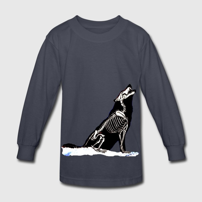 Wolf Skeleton Kids' Shirts - Kids' Long Sleeve T-Shirt
