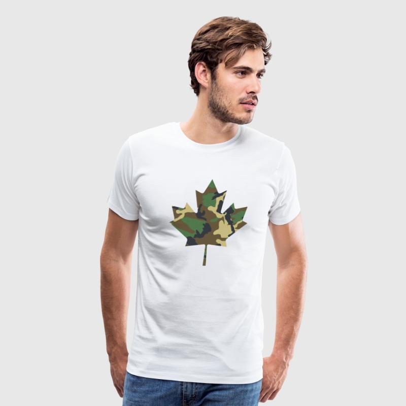 Canadian Maple Leaf - Camo on White - Men's Premium T-Shirt