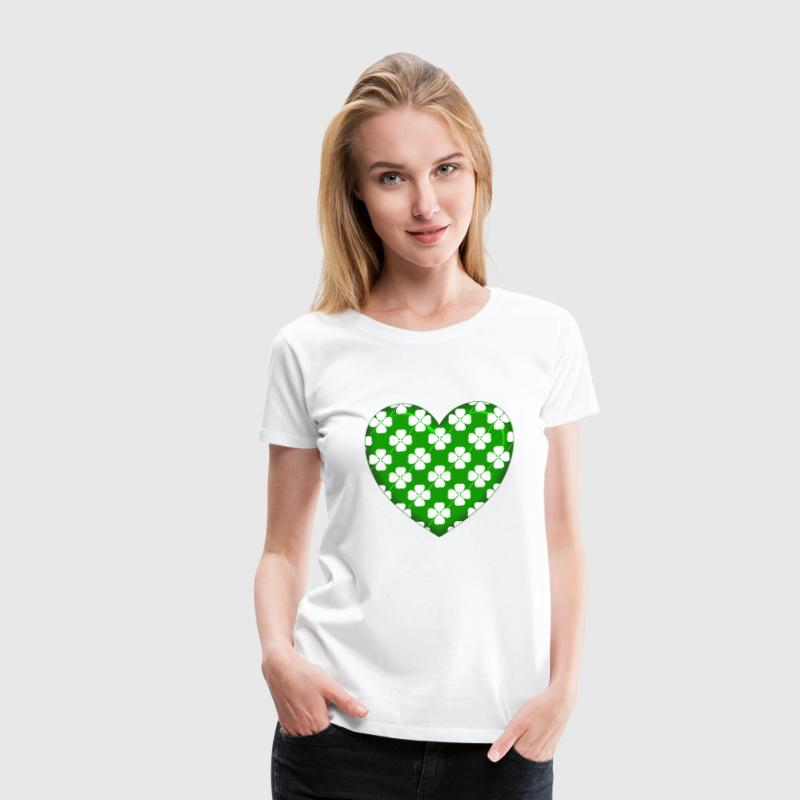 Green Heart White Clovers - Women's Premium T-Shirt