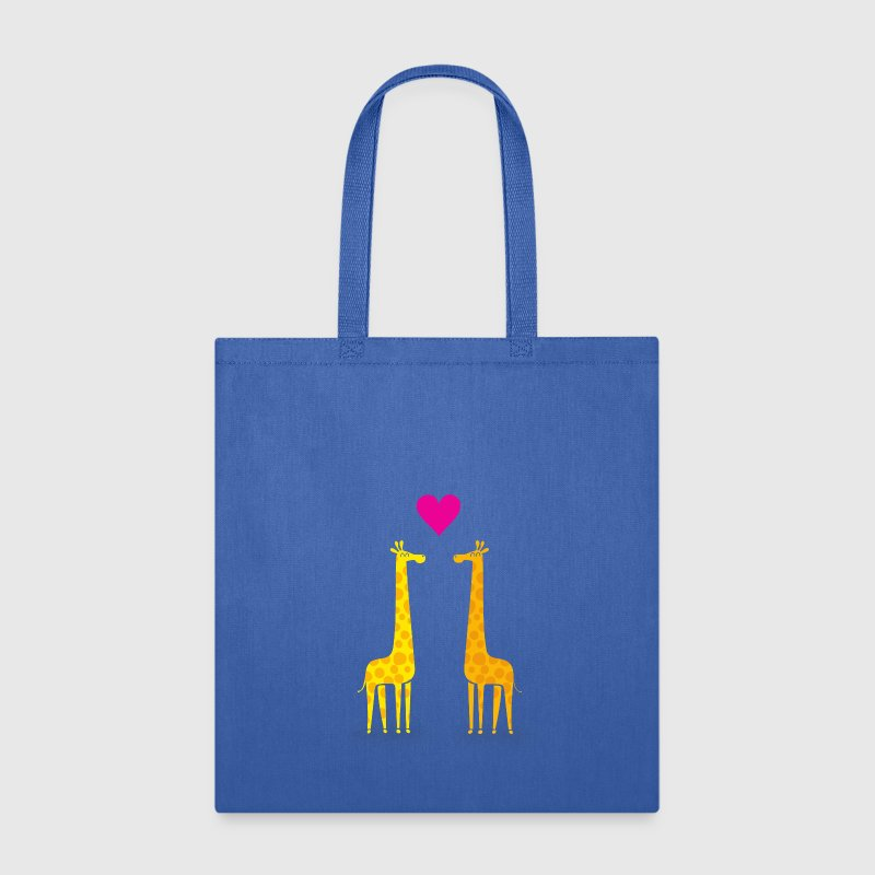 Funny & Cute Giraffes Couple in Love (Heart) Bags & backpacks - Tote Bag
