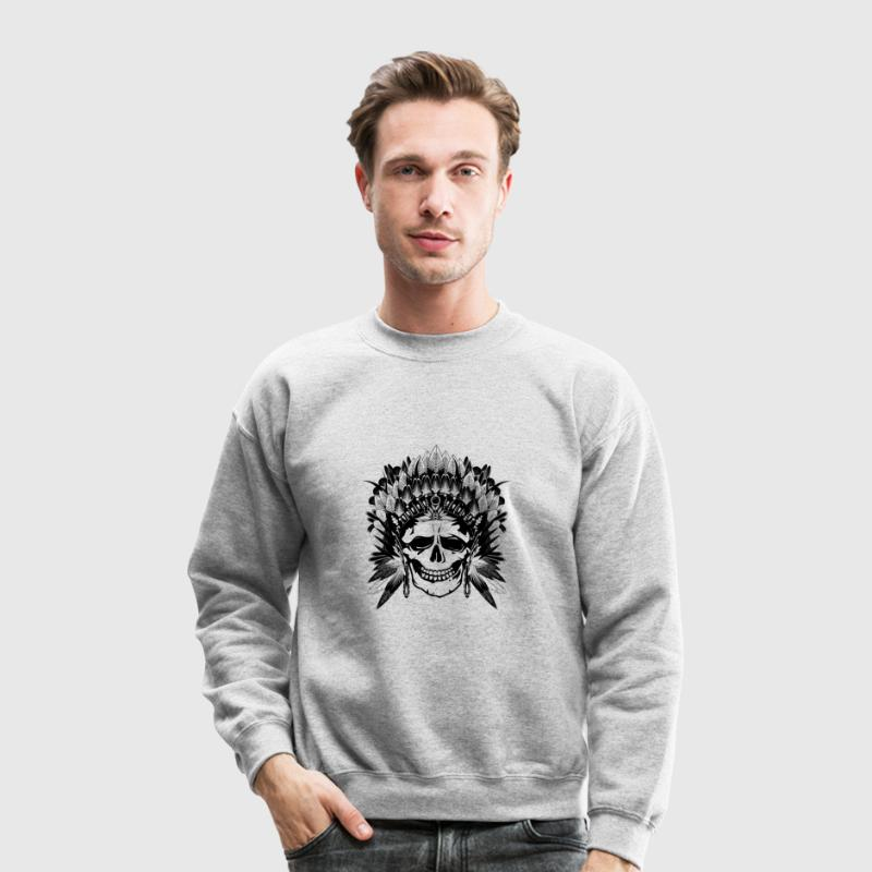 Indian Chief Skull Long Sleeve Shirts - Crewneck Sweatshirt