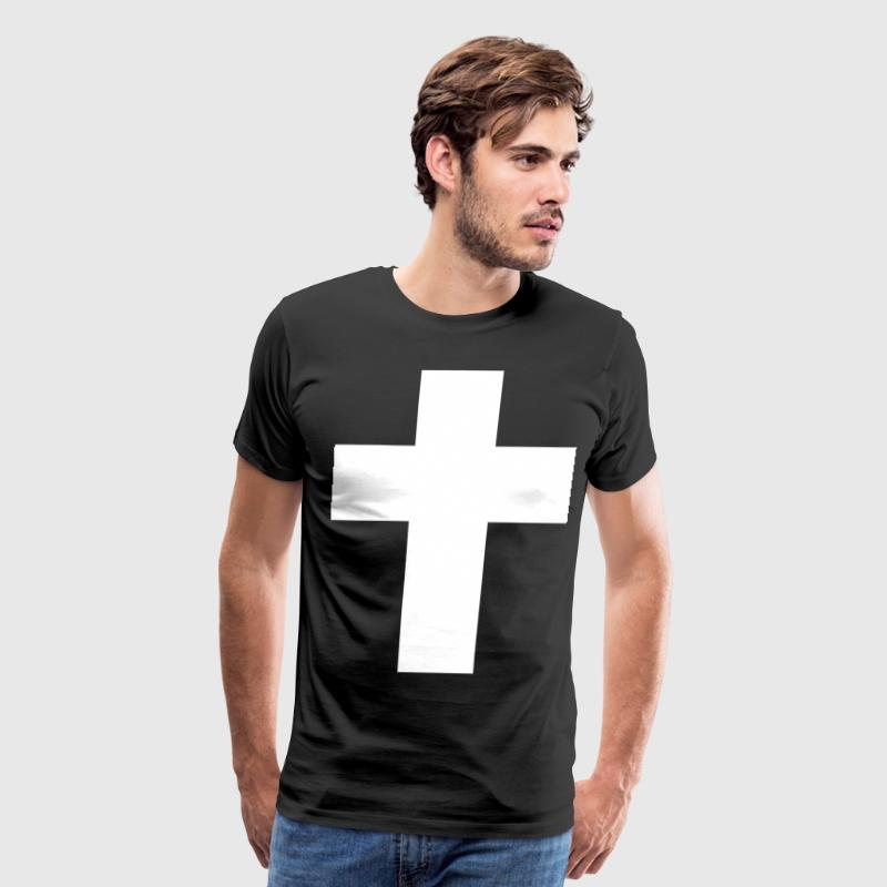 White Cross Simple T-Shirts - Men's Premium T-Shirt