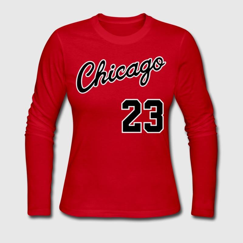 Chicago 23 Script Shirt Long Sleeve Shirts - Women's Long Sleeve Jersey T-Shirt