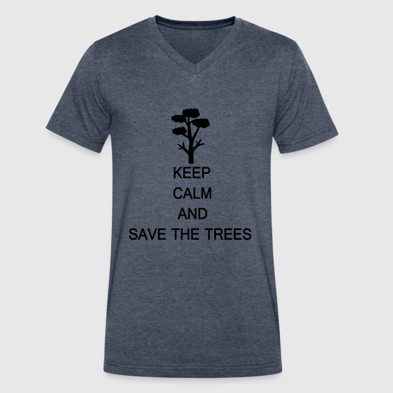 Keep calm and save the trees Men's V-Neck T-Shirt  - Men's V-Neck T-Shirt by Canvas