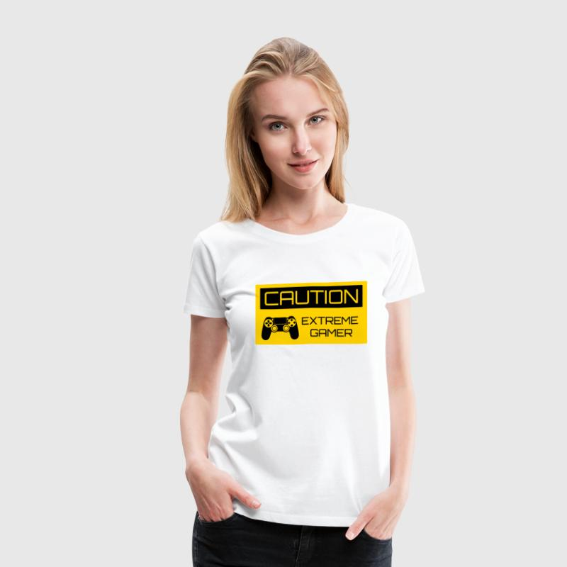 Caution Extreme Gamer Women's T-Shirts - Women's Premium T-Shirt