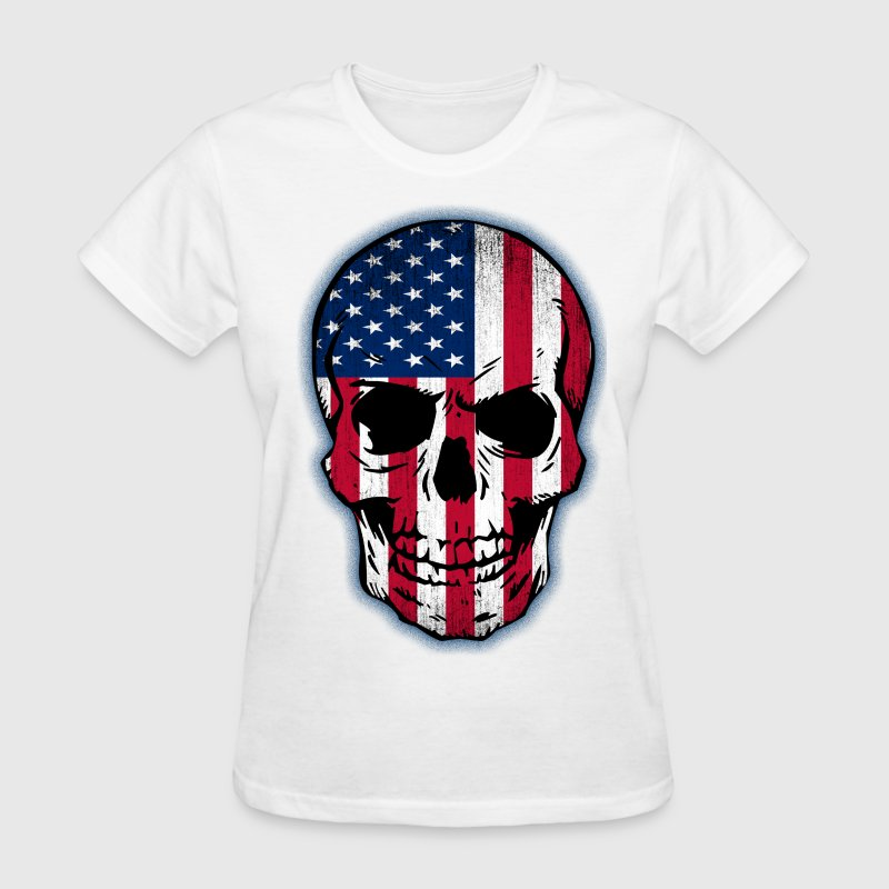 Vintage USA Flag Skull Design - Women's T-Shirt