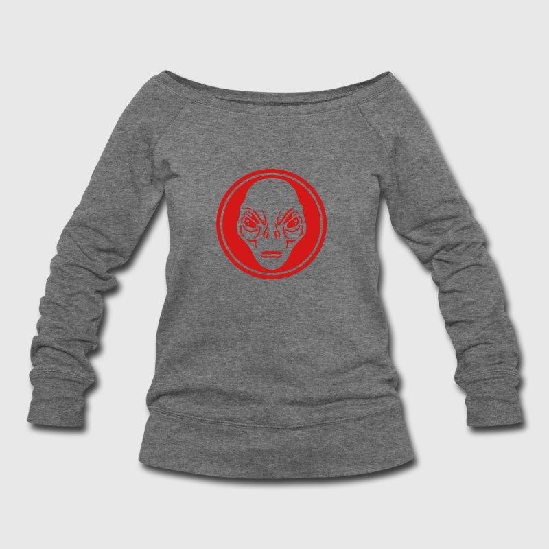 alien face Long Sleeve Shirts - Women's Wideneck Sweatshirt