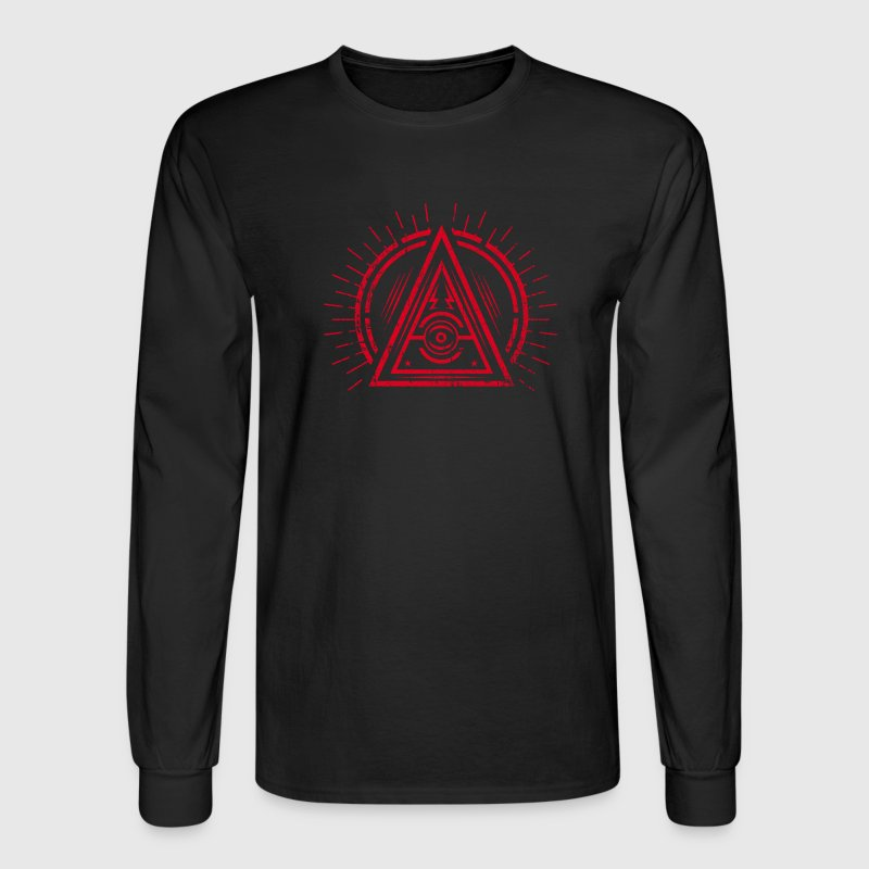 Illuminati - All Seeing Eye - Satan / Black Symbol Long Sleeve Shirts - Men's Long Sleeve T-Shirt