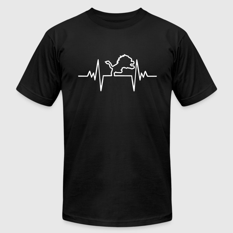 Lion Heartbeat Football T-Shirts - Men's T-Shirt by American Apparel