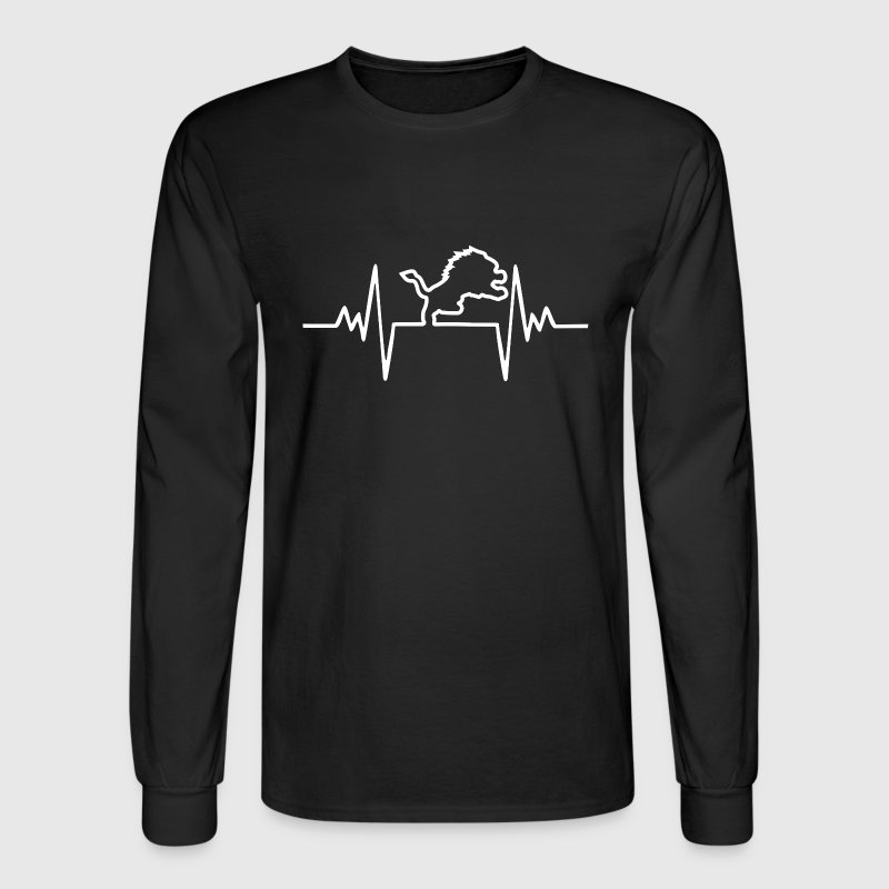 Lion Heartbeat Football Long Sleeve Shirts - Men's Long Sleeve T-Shirt