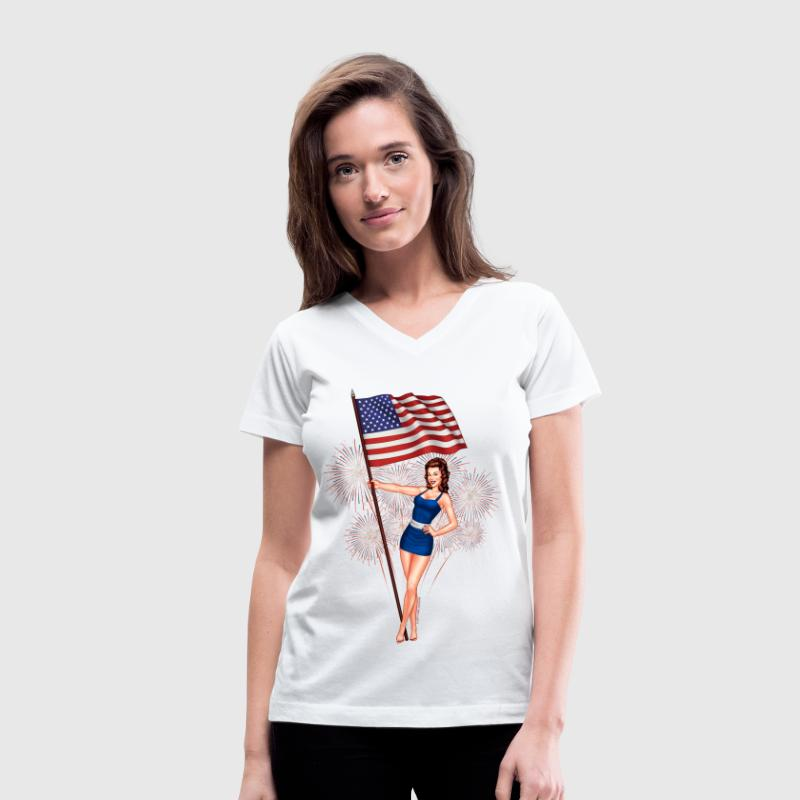 4th of July Pinup Girl Women's T-Shirts - Women's V-Neck T-Shirt