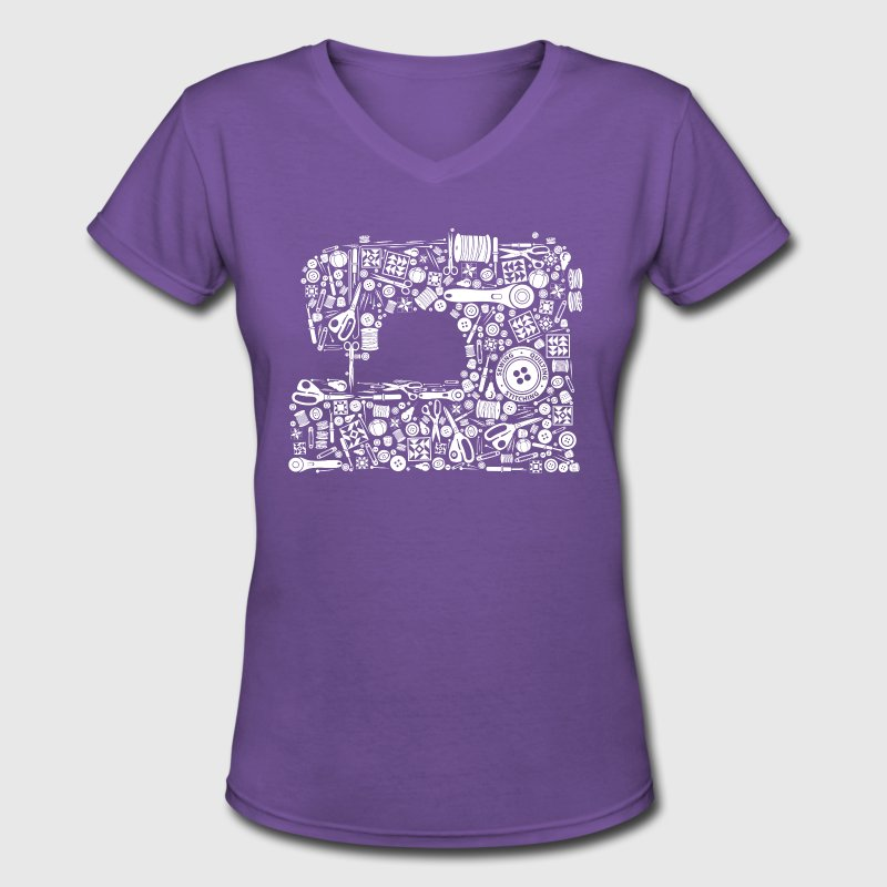 Sewing Quilting Crafting Women's T-Shirts - Women's V-Neck T-Shirt