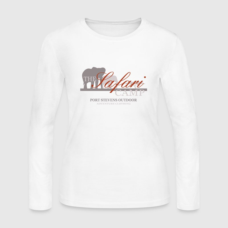 Elephant safari camp long sleeve shirt spreadshirt for Women s long sleeve camp shirts