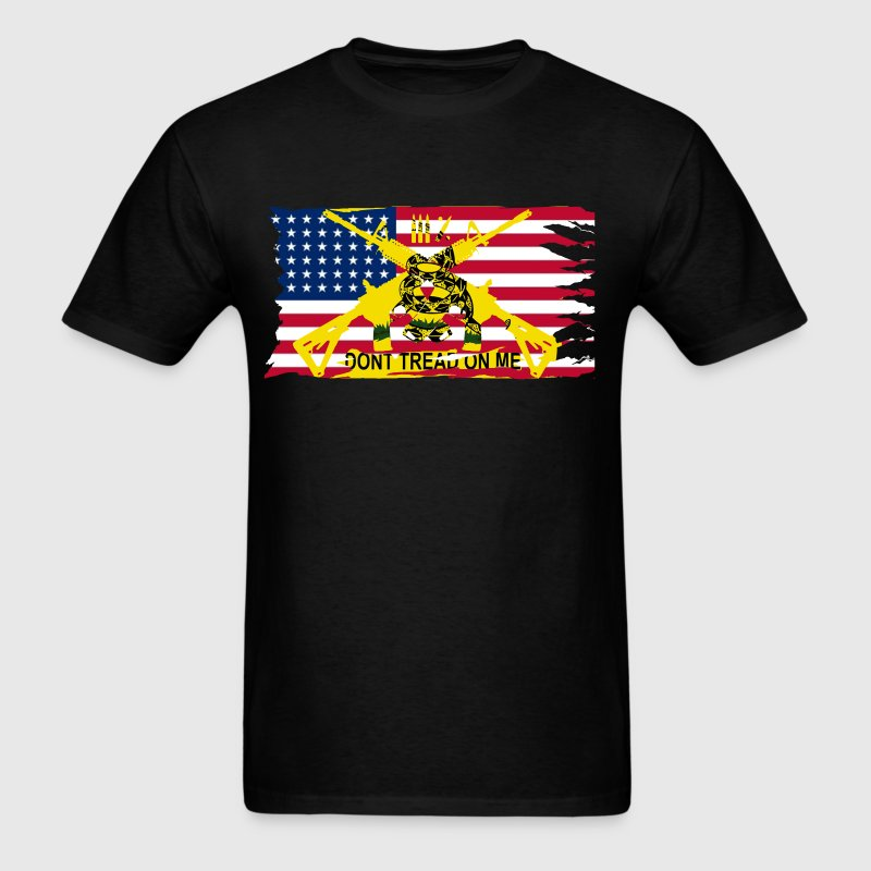 Men's Worn American Flag with Don't Tread On Me Ga - Men's T-Shirt