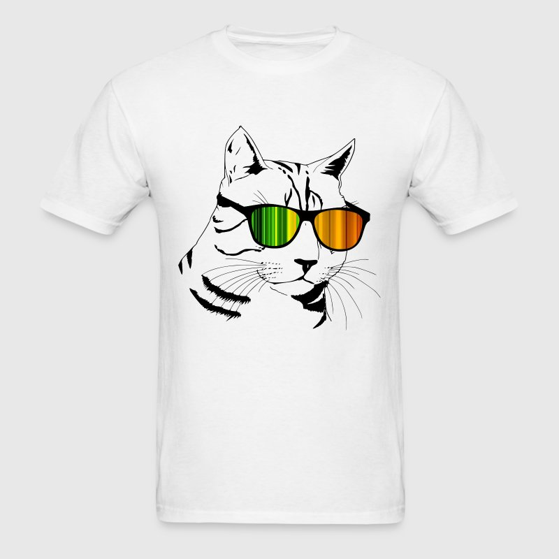 Cool Cat with Color Shades T-Shirts - Men's T-Shirt