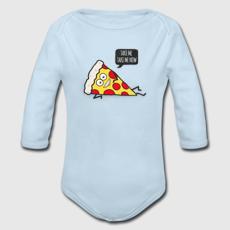 Funny Cartoon Pizza - Statement / Funny / Quote Baby & Toddler Shirts - Long Sleeve Baby Bodysuit