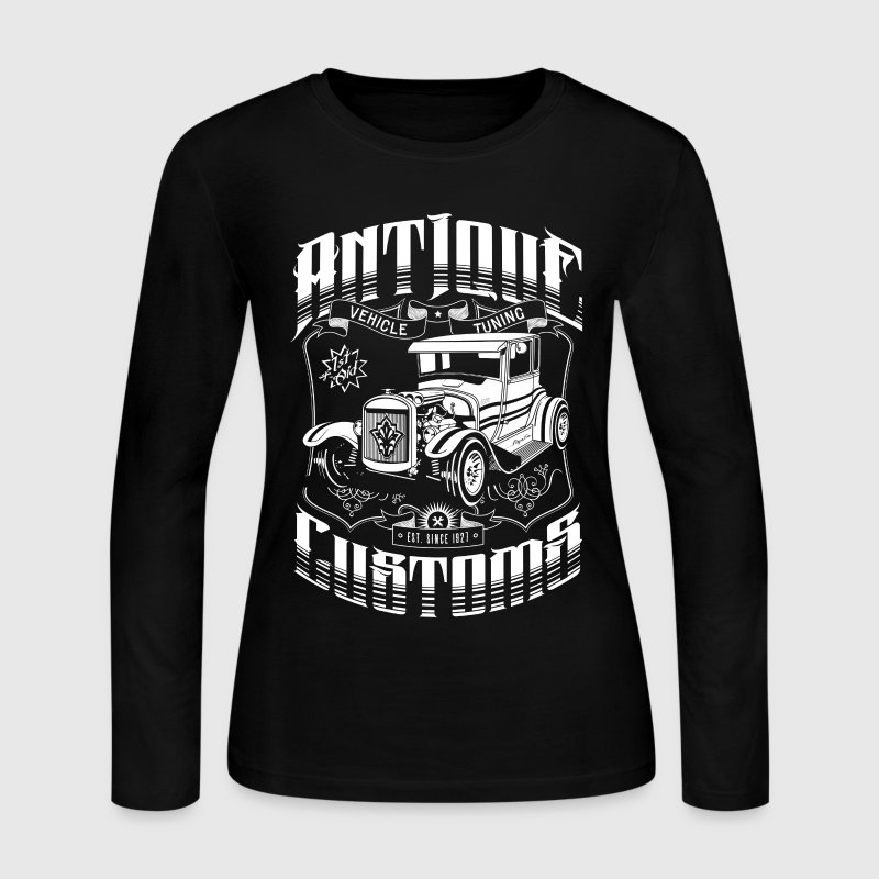 Hot Rod - Antique Customs Long Sleeve Shirts - Women's Long Sleeve Jersey T-Shirt