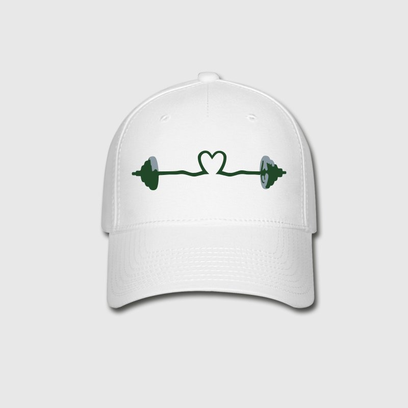 weightlifting - barbell and heart Caps - Baseball Cap