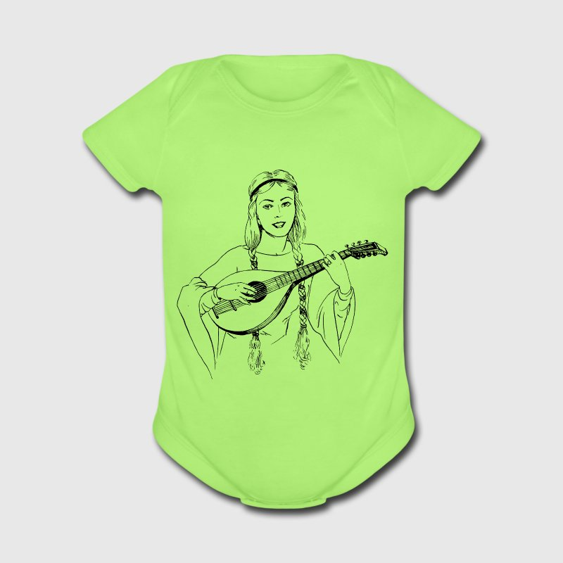 Woman playing lute - Short Sleeve Baby Bodysuit