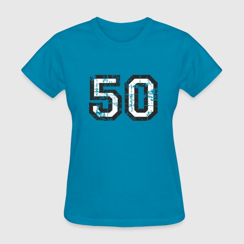 Number 50 Birthday T-Shirt (Women Black/White) Vin - Women's T-Shirt