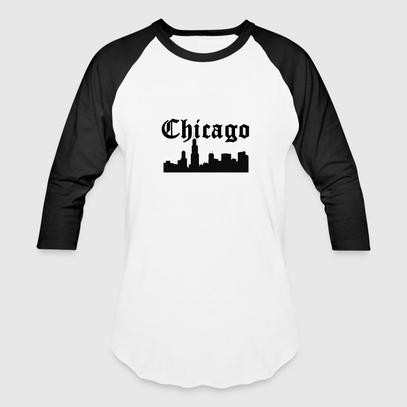 Chicago Silhouette Skyline - Baseball T-Shirt