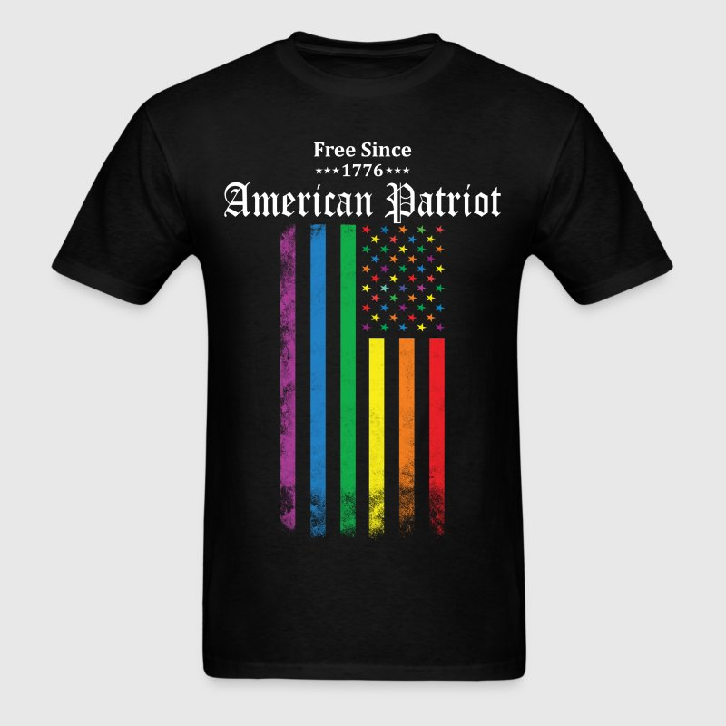 Free Since 1776 American Patriot Rainbow Flag T-Shirts - Men's T-Shirt