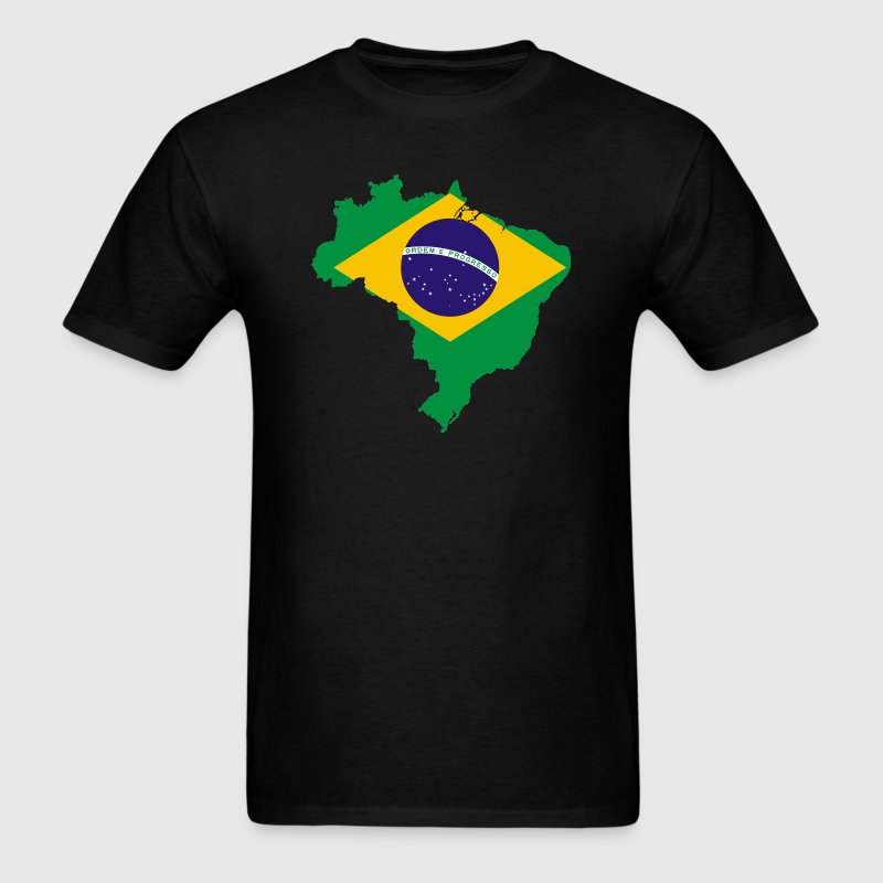 Brazil Country Brasil Flag Map T-Shirts - Men's T-Shirt