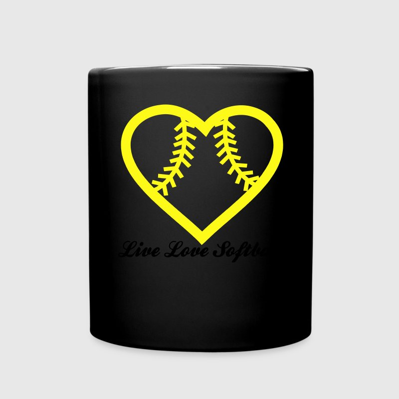Live Love Softball with Softball heart Design Mugs & Drinkware - Full Color Mug