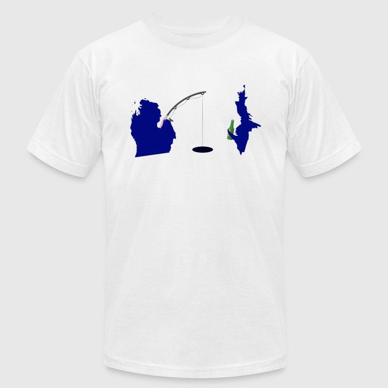Michigan upper peninsula cute fishing t shirt spreadshirt for Fishing logo t shirts
