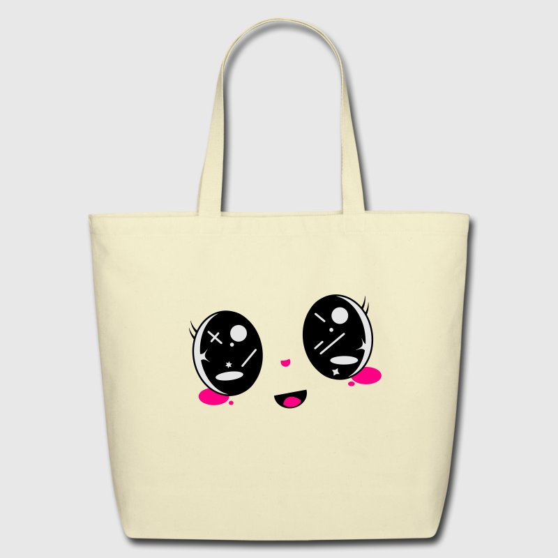cute Kawaii face Bags & backpacks - Eco-Friendly Cotton Tote