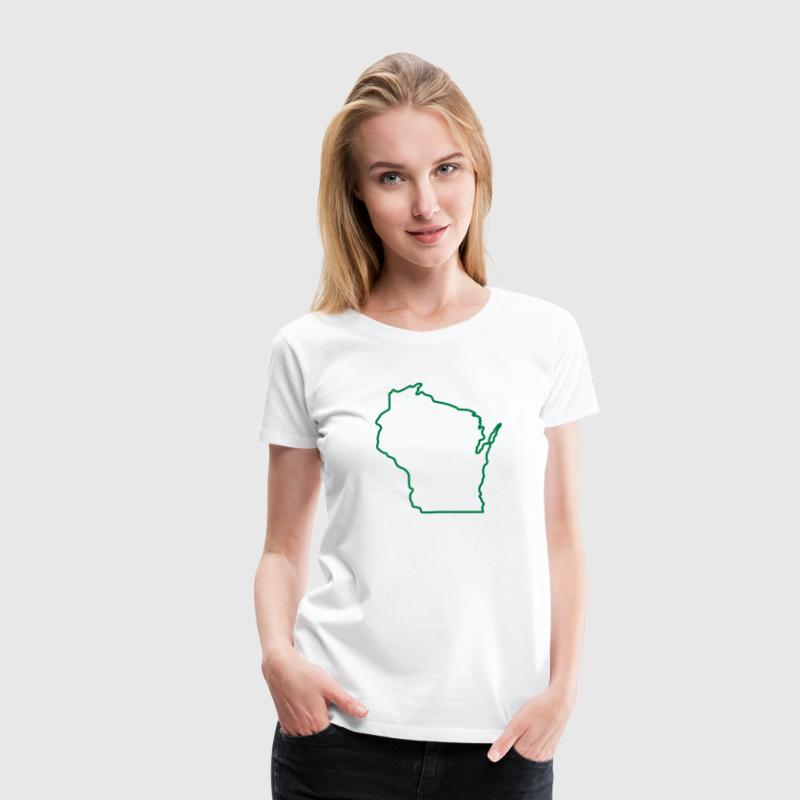 Wisconsin State Outline Design Women's T-Shirts - Women's Premium T-Shirt