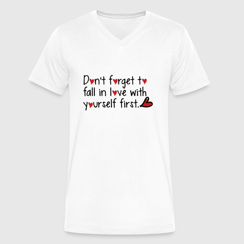fall in love with yourself first Men's V-Neck T-Sh - Men's V-Neck T-Shirt by Canvas
