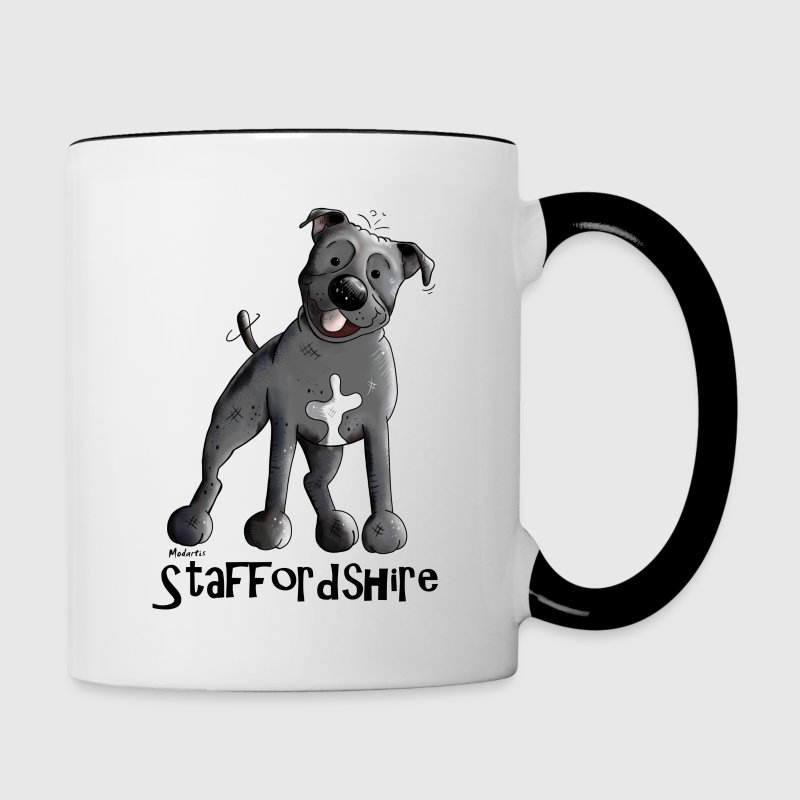 Happy Staffordshire Bull Terrier Mugs & Drinkware - Contrast Coffee Mug