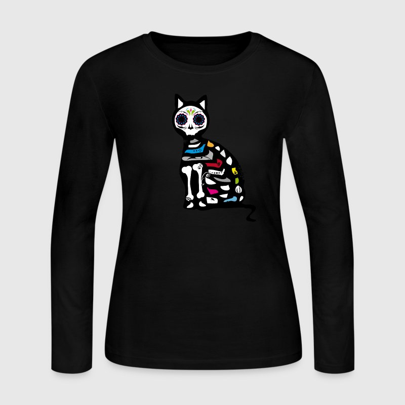 Sugar Skull Cat Long Sleeve Shirts - Women's Long Sleeve Jersey T-Shirt