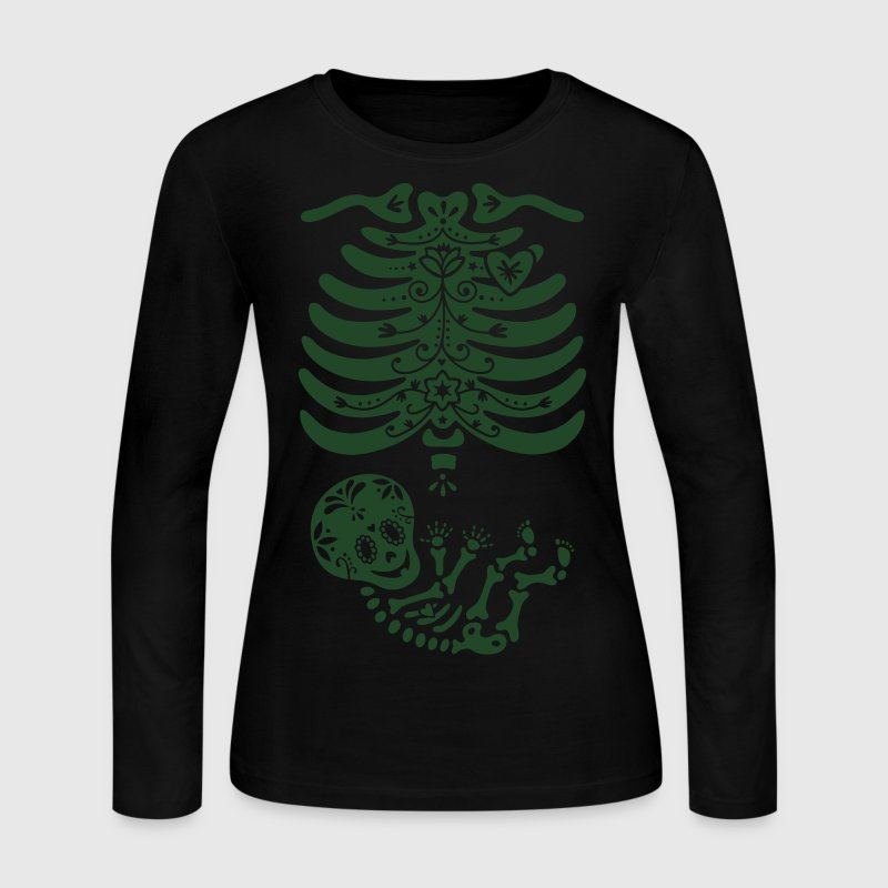 Sugar Skull Maternity Skeleton Skelly Baby Long Sleeve Shirts - Women's Long Sleeve Jersey T-Shirt