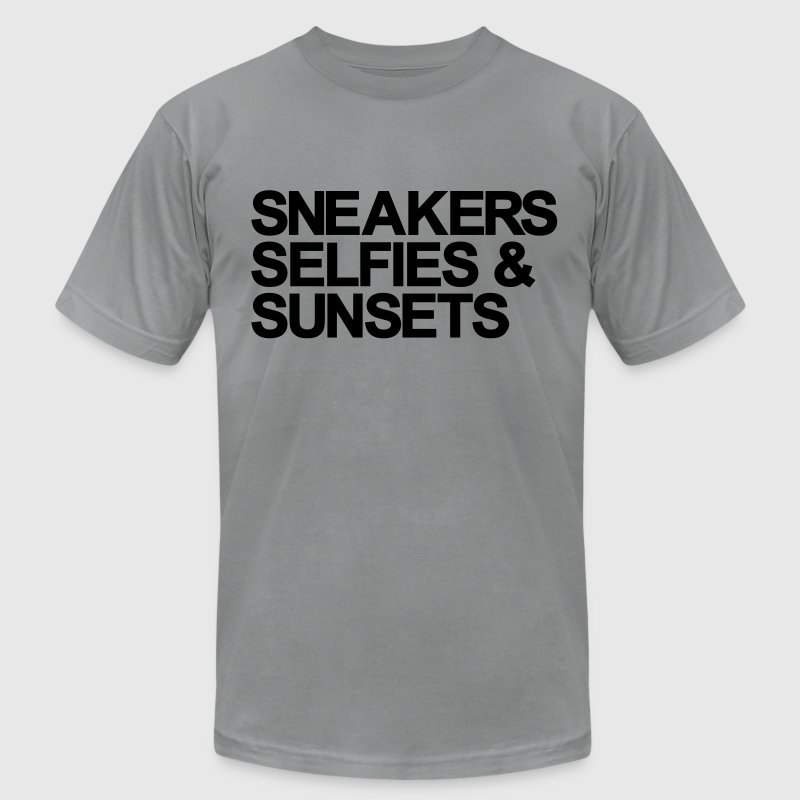 Sneakers Selfies Sunset T-Shirts - Men's Fine Jersey T-Shirt