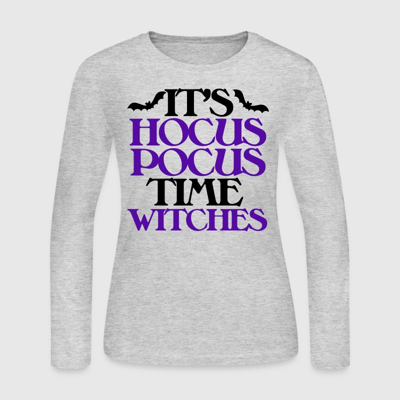 It 39 s hocus pocus time witches halloween long sleeve shirt for Plus size hocus pocus shirt