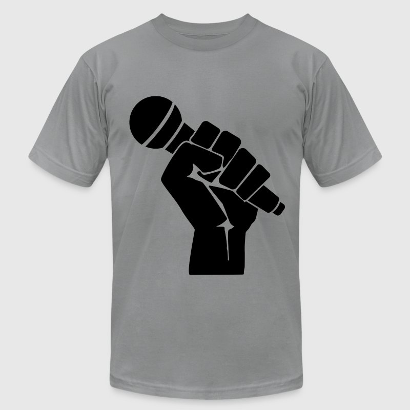 microphone in fist T-Shirts - Men's T-Shirt by American Apparel
