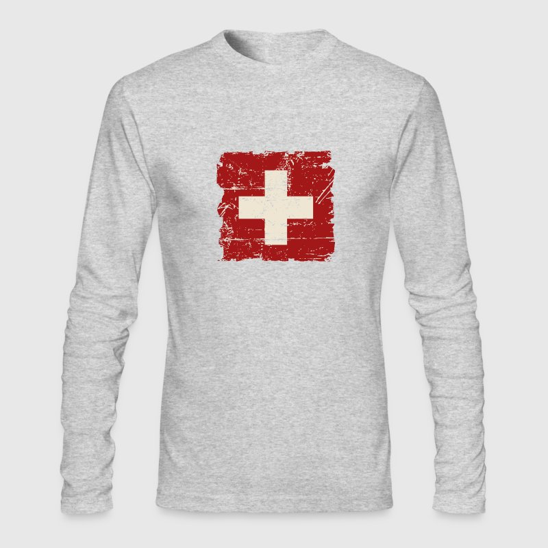 Swiss Flag - Vintage Look Long Sleeve Shirts - Men's Long Sleeve T-Shirt by Next Level