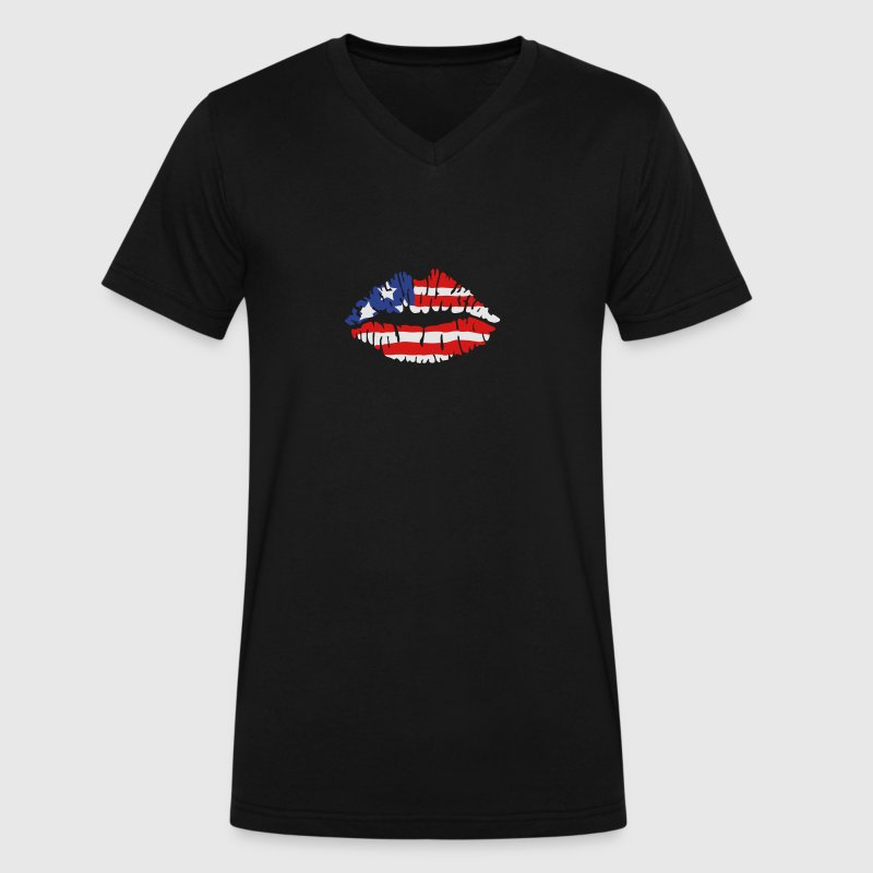 American flag lips T-Shirts - Men's V-Neck T-Shirt by Canvas