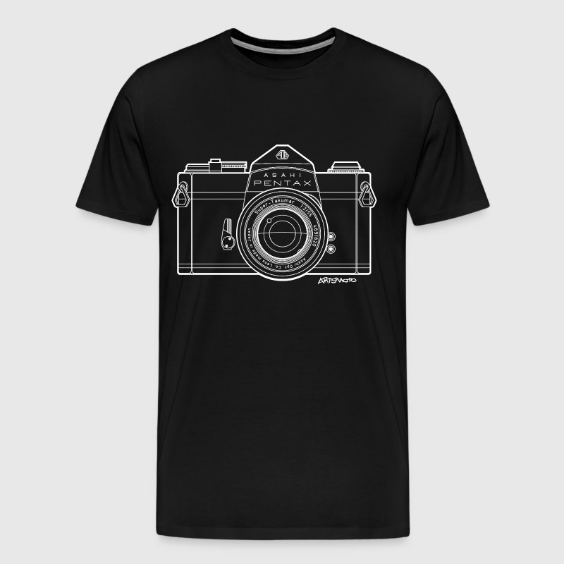 Asahi Pentax 35mm Vintage Camera Line Art (White) T-Shirts - Men's Premium T-Shirt