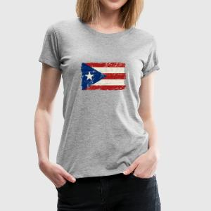 Puerto Rico Flag - Vintage Look Long Sleeve Shirts - Women's Premium T-Shirt