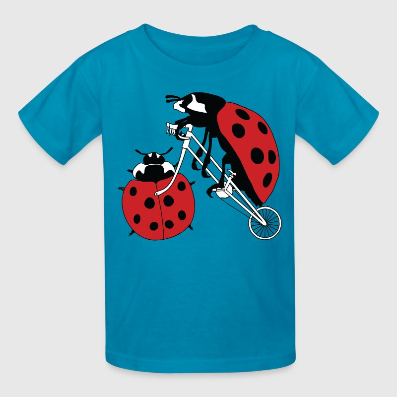 Ladybug Riding Bike With Ladybug Wheel Kids' Shirts - Kids' T-Shirt